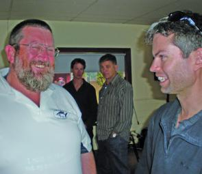 Dave Mudd, left, of Hunter Native Fish, and Ben Doolan, of the Port Stephens hatchery.