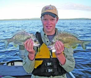 Will Duncan certainly holds his own against his Dad on the bream. With all the dirty water lately the boys have been concentrating their efforts in Lake Wooloweyah with great results. The bream in his right hand has been dragged backwards out of a net and