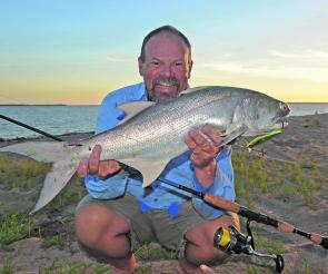 A big blue salmon taken from the beach on relatively light spinning tackle. Casting lightweight minnows and other hardbodied lures over longer distances demands a reel that's filled with line to the optimum 'Goldilocks' level.