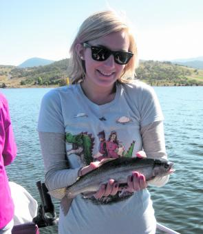 Emma Lovelock with a Jindabyne rainbow in prime condition.