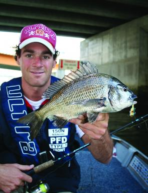 Aaron Hassett with a bream taken from the Yarra River on a River 2 Sea Mini Vibe.