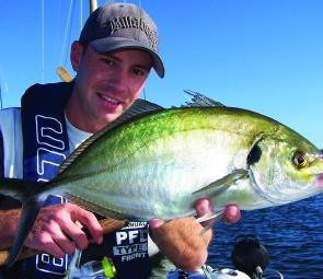 Brent Hodges with a trevally taken from the moored boats at Queenscliff on River 2 Sea Mini Vibe.