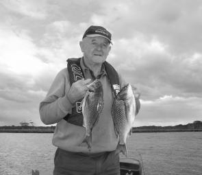 Tom Warren with two good-sized bream caught at Marlo. The estuary is fishing well now that the entrance is open.