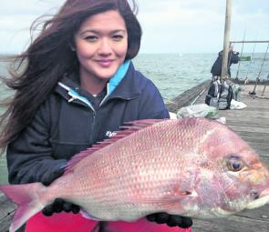 Jess caught her first ever snapper on the pier – a cracker 5.5kg.