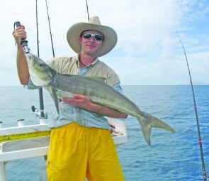 Greg Baker with a small cobia taken in Cleveland Bay.