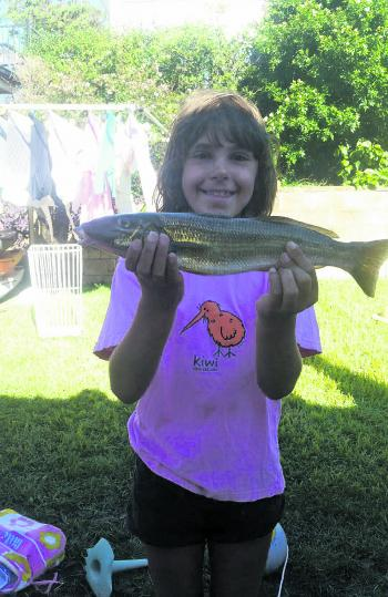 Annabelle Maddison with her biggest ever fish! A nice 40cm whiting from the Manning River.