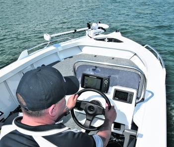 Yamaha's all-in-one digital gauge fits perfectly into the helm. Between the Helix and the Yamaha gauge there's a mountain of information to help you boat and fish economically.