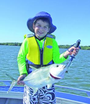 There are plenty of fish for the kids to catch like Joshua's 2kg trevally taken from Pumicestone Passage.