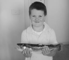 When fishing for reddies on Lake Eildon a bi-catch can be rainbow trout, like this caught by my son Mitchel.