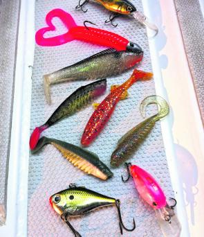 The author's choice of big flattie lures for the month.