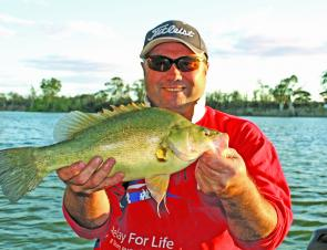 Wade Vincent displays a great golden perch which took a liking to his bait.