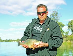 Mildura local Chris shows one of three lovely perch taken in an afternoon.
