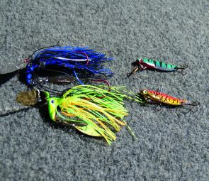 The new 3/8oz Blakemores Rock 'n Runner, left, and the Big River Shake 'n' Bake have been deadly on the bass in St Clair.