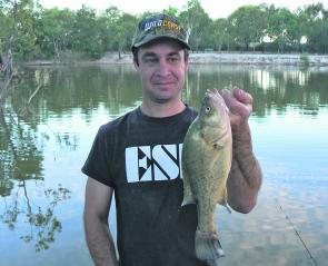 The author with a typical-sized yellowbelly from the Wimmera River at Horsham.