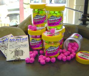 You'll get change out of $20 with a jar of PowerBait and a few packets of Mustad hooks (photo courtesy Rod Grotaers).