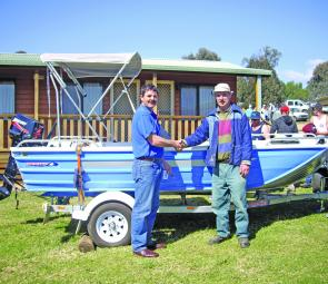 The happy winner of the Grabine Classic boat, motor and trailer outfit was Paul Bennett, of Woodstock.