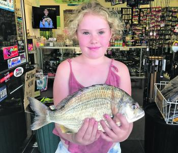 Lilly Kennedy caught this kilo bream off Iluka Wall.