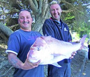 Graham and Steve caught this awesome 9.7kg early season snapper out wide from Carrum (photo: Trevor and Lynette Hogan).