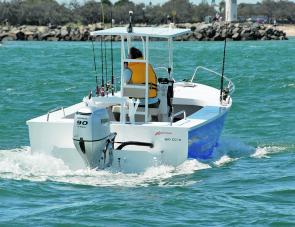 The solid Kapten centre console rig was amply powered by the Honda 90hp four-stroke.