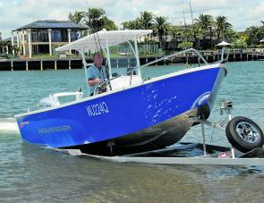 A solid, custom, trailer makes easy launching and retrieve of the Kapten an enjoyable part of owning the craft.