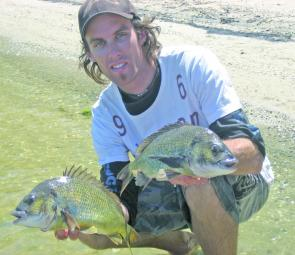 Mitch Chapman with two lure caught bream from the Gippy Lakes.