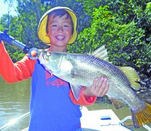 The G-Man and a little barra – fun for all ages.