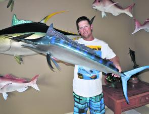 Master fish caster Scott Ward with one of his baby black marlin creations. It would look fantastic on the office wall or the lounge room and you don't need to kill a fish to get one.
