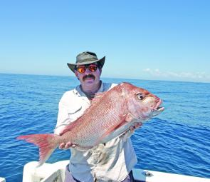 John Gooding with a decent-sized snapper. Snapper fishing east of the south passage