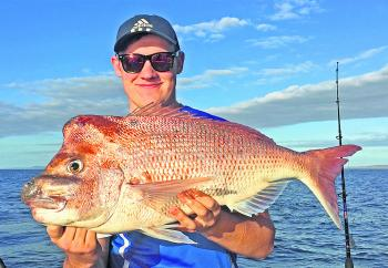 Jarred Taig from New Zealand got this cracker knobby snapper while fishing Coffees Reef on Trekka2.