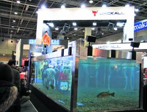 The Jackall display tank was huge, loaded with bass and one of the biggest drawcards of the show.
