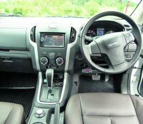 The Isuzu's dash layout involves a fair amount of hard plastic but gauges are easy to read, controls for various items easy to identify, and the leather-trim seating adds a touch of luxury.