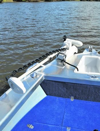 The addition of the Motorguide Xi5 provides the stealth and maneuverability that a sport fishing boat needs.