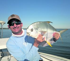 Peter Agapiou with a trophy of flats fishing – a decent permit taken on conventional gear.