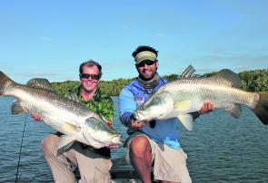 Double ups of fish like these are what most keen barramundi fishos will expect this month.