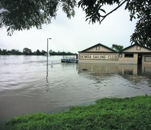 Jolly boating weather: Nowra Sailing Club during the big wet. At least the bass will have some new snags after the flood.