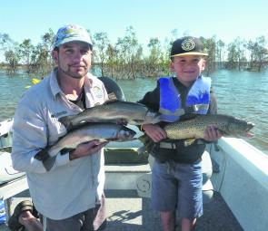 The author and his son Zach had a cracking session on lake Fyans.