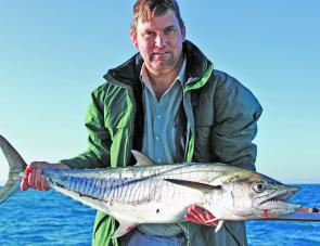 Rob Wilde with an average-sized Spanish mack from the closest Mackerel Patch. These fish have been on the chew since late April and should peak in June.
