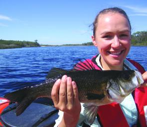 Estuary perch abound in both the Mueller and Thurra rivers. Deb Courtney caught this one from her kayak, using a Squidgy flickbait.