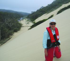 Deb stands on a sand dune, from which the deeper water in the upper reaches of the Thurra River can be seen. They looked very fishy from afar…if only we could reach them!