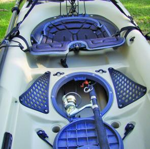 A 6ft rod and reel can easily be stowed inside the hull and under the seat, which is important if the kayak to have any offshore capabilities.