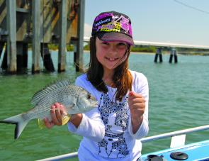Jemma was rapt to catch this excellent Brisbane River bream, one of several for the trip.