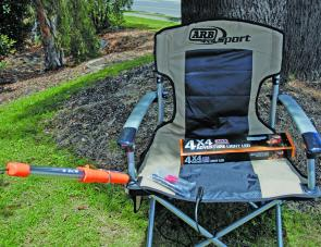 The ARB Adventure Light shown is attached to the Sport Chair via the special metal clip as provided in the kit.
