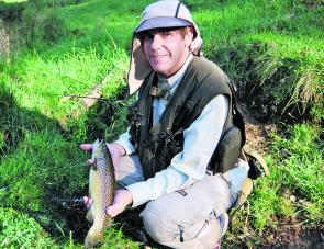 Smaller fish, smaller gear: this brown trout was taken on a four-weight outfit.