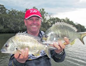 Wayne Bale with some solid bream caught on lures during the middle of the day.