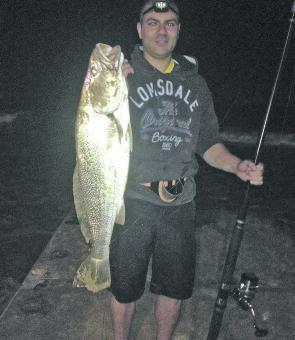 This mulloway was caught by Khaled Hamdan. It was about 10kg, caught on live bait off the beach.