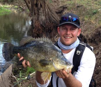Barambah Creek is small water, but it houses some seriously big fish, like this chunker of a yellowbelly.