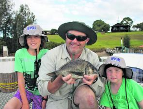 Brad Ringin and sons Jessie, 10, and Brock, 8, had a great holiday at Narooma and caught a heap of fish. This solid bream which was released after the photo.