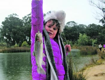 Holly Alexander with a yearling rainbow trout caught last winter at Stanley Ditch Dam on a Strike Tiger Nymph. Stanley Ditch Dam is a favourite with many young people during the winter school holidays.