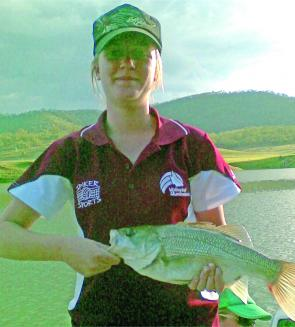 Andrea pulled this bass from the waters at Cania Dam on lure.