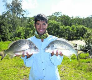 Jason Aguiar with another quality pair of Lake Mac bream. These fell to his favourite deep-diving Jackal Chubby.